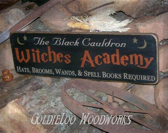 Primitive Folk Art Halloween, Witches Academy wall sign