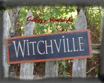 Primitive, Folk Art ,Halloween, Witchville wall sign