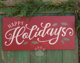 Happy Holidays, Wood Wall Sign