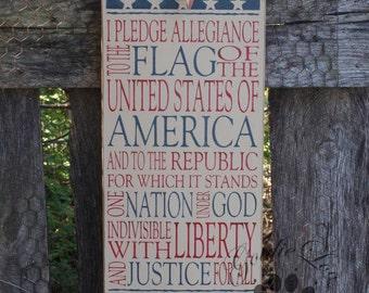 Pledge of Allegiance, Typography,Word Art, Americana, Primitive Wood Wall Sign