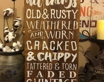 I Love Old, Vintage sign, farmhouse style