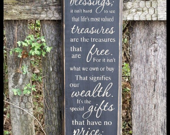 Many Blessing Primitive Wood Wall Sign, Typography, Word Art