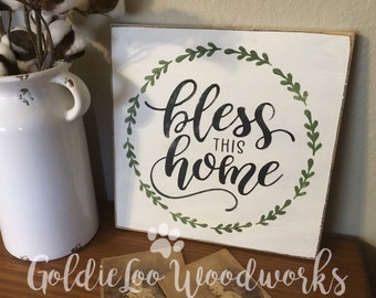 Bless This Home, Typography Word Art, Subway Art, Primitive Wall Sign