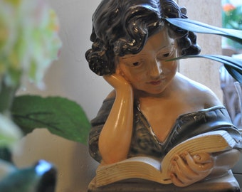 Vintage French Plaster Statue - The Music Student