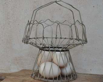 Collapsible Wire  Basket  - Vintage French Salad Spinner - for Eggs, Fruit, Salad
