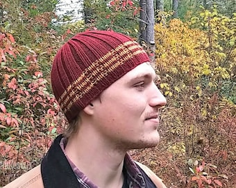 Hat Knitting Pattern - Boys Beanie Hat Pattern - Mens Knit Beanie - the IAN beanie (Toddler, Child & Adult sizes incl'd)