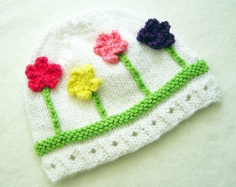 Knitting Pattern - Hat Pattern - the POSY beanie (Newborn, Baby, Toddler, Child & Adult sizes incl'd)
