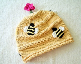 Hat Knitting Pattern - Beehive Hat Pattern - the BUZZ Hat (Newborn, Baby, Toddler, Child & Adult sizes incl'd)