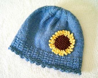 Hat Knitting Pattern - Girls Sunflower Hat Pattern - the IZZY Hat (Newborn, Baby, Toddler, Child & Adult sizes incl'd)