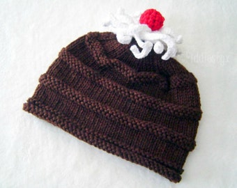 Hat Knitting Pattern - Chocolate Cake Pattern - Birthday Hat Pattern - the BROWNIE Hat (Newborn, Baby, Toddler, Child & Adult sizes incl'd)