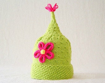 Knitting Pattern - Girls Pixie Hat Pattern - the ZOE Hat (Newborn, Baby, Toddler, Child & Adult sizes incl'd)