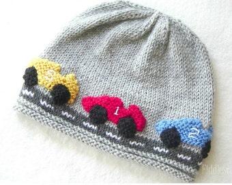 Boy's Hat Knitting Pattern - Racecar Hat - Baby Boy Hat - the ALEX beanie (Newborn, Baby, Toddler, Child & Adult sizes)