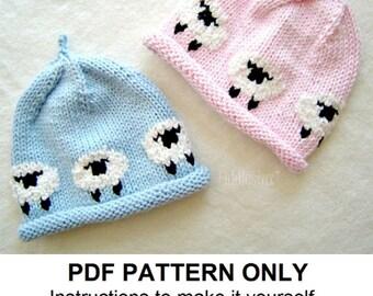 1aebf2cdffd Hat Knitting Pattern - Little Lamb Hat - Woolly Sheep Hat - the AVERY beanie  (Newborn