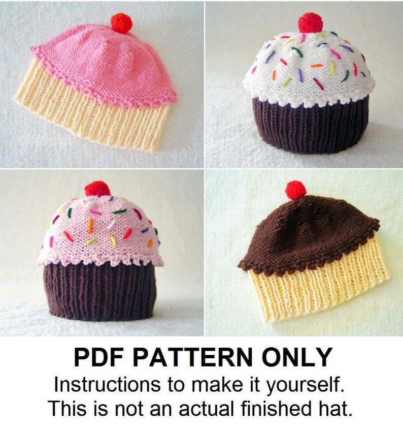 Knitting Pattern Baby Cupcake Hat Pattern the CUPCAKES Hat  56527c672f0