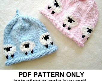 Hat Knitting Pattern - Little Lamb Hat - Woolly Sheep Hat - the AVERY beanie (Newborn, Baby, Toddler, Child & Adult sizes)