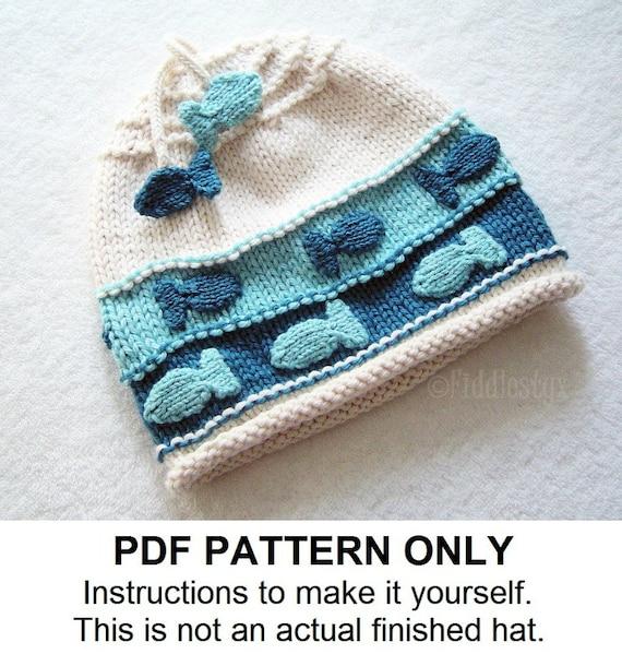 Hat Knitting Pattern Nautical Fish Hat Pattern The Charlie Etsy