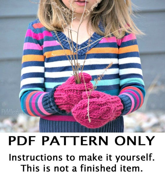 Knitting Pattern Chunky Knitted Mittens Pattern the AURORA   Etsy