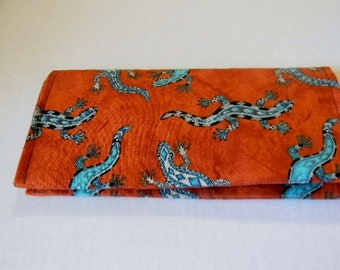 Native American Lizards Fabric Checkbook Cover