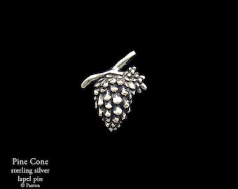 Pine Cone Lapel Pin Sterling Silver Pinecone Pin