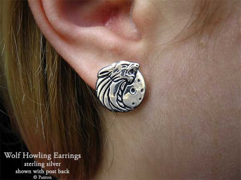 Wolf Earrings Sterling Silver Wolf Howling with Moon Earrings Hand Carved /& Cast Fish Hook or Post