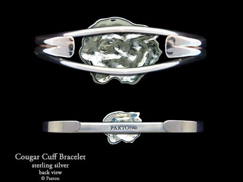 7426de17b1bec Cougar Bracelet Sterling Silver Cougar Puma Head Cuff Bracelet Handmade