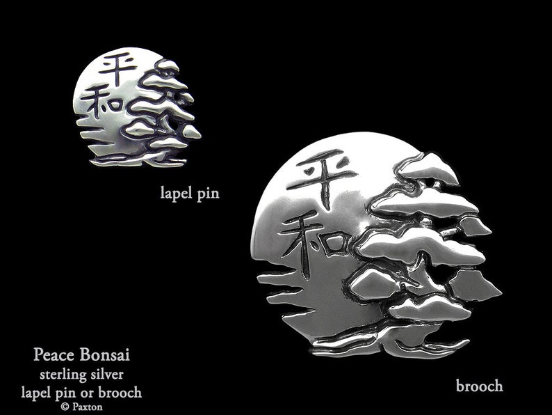 Peace Bonsai Lapel Pin or Peace Bonsai Brooch Sterling Silver Bonsai with Sun /& Peace in Japanese Kanji