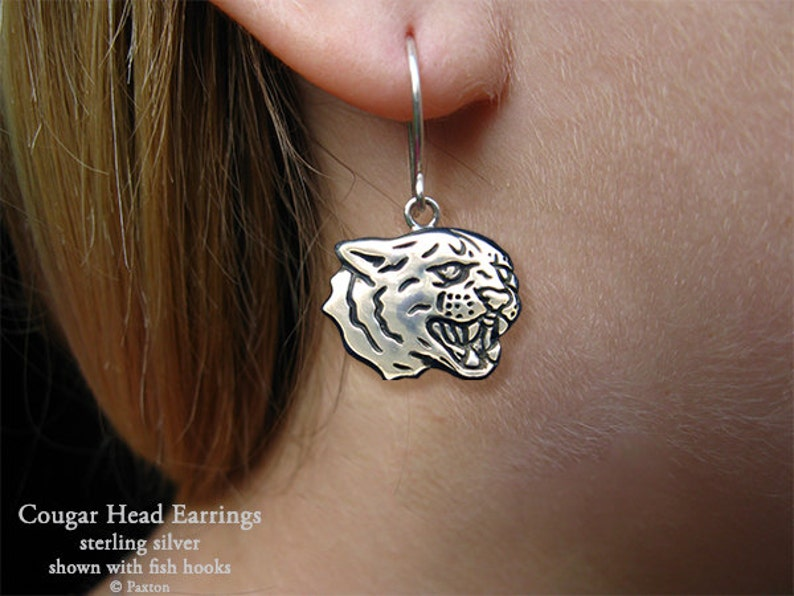 38c8b2bcadfaa Cougar Puma Head Earrings Sterling Silver Hand Carved & Cast Fish Hook or  Post Mountain Lion