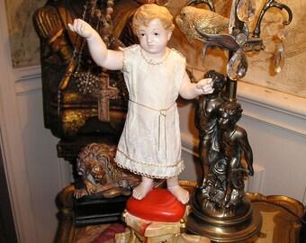 Vintage Rare Infant Of Prague.Boy Jesus Statue Fabulous Antique Santon w/Stand,Crown.Glass Eyes.