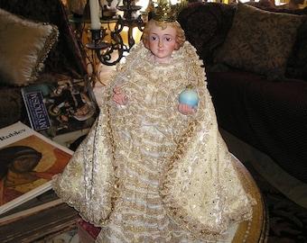 Vintage Divine Spanish Infant Jesus of Prague w/Crown,Vestments.Heavenly Glass Eyed Santos..