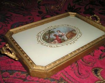 Vintage French Chic Ormolu Handled Old Wood Tray.Romantic Boudoir Dresser Tray.Glam.