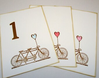 Set of  10 Wedding Table Numbers Tandem Bicycle with Heart Balloon Numbers, Party Table Numbers 1-10