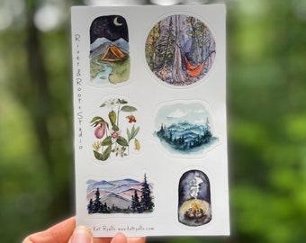 "Explore the Mountains Sticker sheet! 4x6"" vinyl decals, weatherproof, blue ridge mountains, hammock, camping"