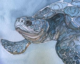 Sea Turtle watercolor fine art print