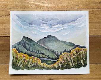 Linville Gorge Table Rock Blue Ridge Mountains watercolor fine art print by kat ryalls North Carolina Mountains