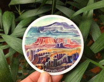 "Canyonlands National Park Utah Viynl Sticker  3"" circle by Kat Ryalls watercolor national parks moab desert"