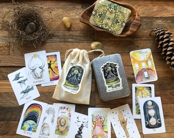 """MINI! Roots & Wings Oracle Deck 63 2.25x3.5"""" cards by Kat Ryalls mini oracle card deck 