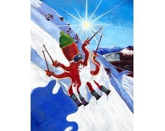 GIRDWOOD ALASKA ENJOY THE RIDE WINTER SPORT SKI SNOW SLED VINTAGE POSTER REPRO