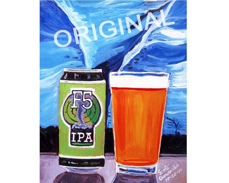 Twister Painting, Tornado Art Print, Oklahoma Beer Art, F5 IPA by COOP Ale  Works, Craft Beer Gift, Man Cave Beer Poster, Gift for Boyfriend