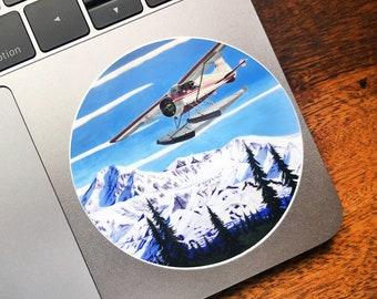 Denali Floatplane Sticker, Alaskan Souvenir, Alaska Sticker, Anchorage Artist, Scott Clendaniel, Fireweed, Alaskan Aviation, Willow