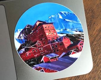 Kennecott Mill Building Sticker, Scott Clendaniel, Alaskan Souvenir, Alaska Sticker, Wrangell-St. Elias National Park, Kennicott, McCarthy