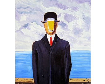 Beer Parody of The Son of Man, René Magritte, Beer Pint Glass, Gift for Husband, Bar Art, Groomsman Beer Gift for Him, Man Cave Beer Poster