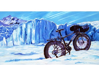 Fat Tire Bicycle, Glacier, Alaska Painting, Custom Bicycle Painting, Gift for Alaskan Cyclist, Alaska Winter Biking Painting, Alaskan Artist
