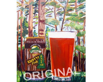 Arizona Craft Beer, Food Painting, Knotty Pine Pale Ale, Lumber Yard Brewing Beer Painting, Beer Gift for Brother, Gift for Husband, Bar Art