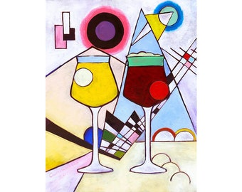 Kandinsky Beer Parody, Teku Beer Glasses, Dining Room Painting, Abstract Alcohol Art, Famous Painting with Beer, Gift for Him, Bar Beer Art