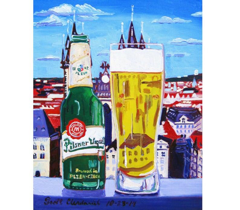 Pilsner Urquell Art, Na Zdravi, Pilsner Poster, Retirement Beer Gift for  Him, Kitchen Art, Czech Republic Beer, Europe Painting, Art for Men