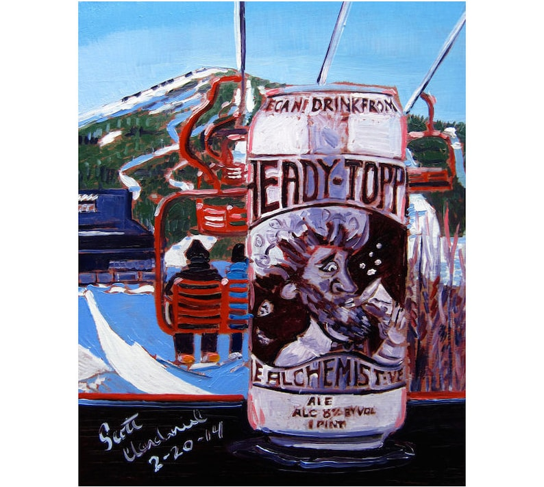 Heady Topper Beer Gift for Boyfriend Ski Art Vermont Craft image 0