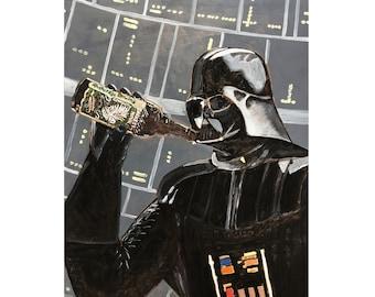Darth Vader Drinking Darkest Hour Imperial Stout by Anchorage Brewing, Gift for Beer Geek, Bar Beer Wall Art, Star Wars, Alaskan Craft Beer