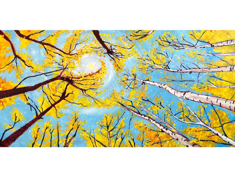 Golden Birch Tree Leaves Trees Circle Fall Foliage Painting image 0