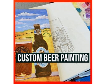 Custom Beer Painting Made to Order, Personalized Beer Gift for Him, Art for Men, Beer Anniversary Gift for Husband, Present for Boyfriend