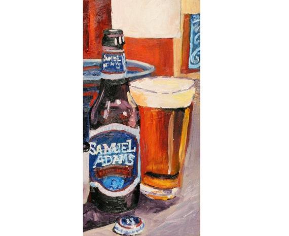 Samuel Adams Boston Lager Beer Art Gift For Boyfriend Sam Etsy